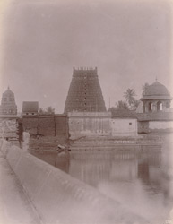 View from the tank of the Sarangapani Temple looking towards a gopura of the Kumbheshvara Temple, Kumbakonam